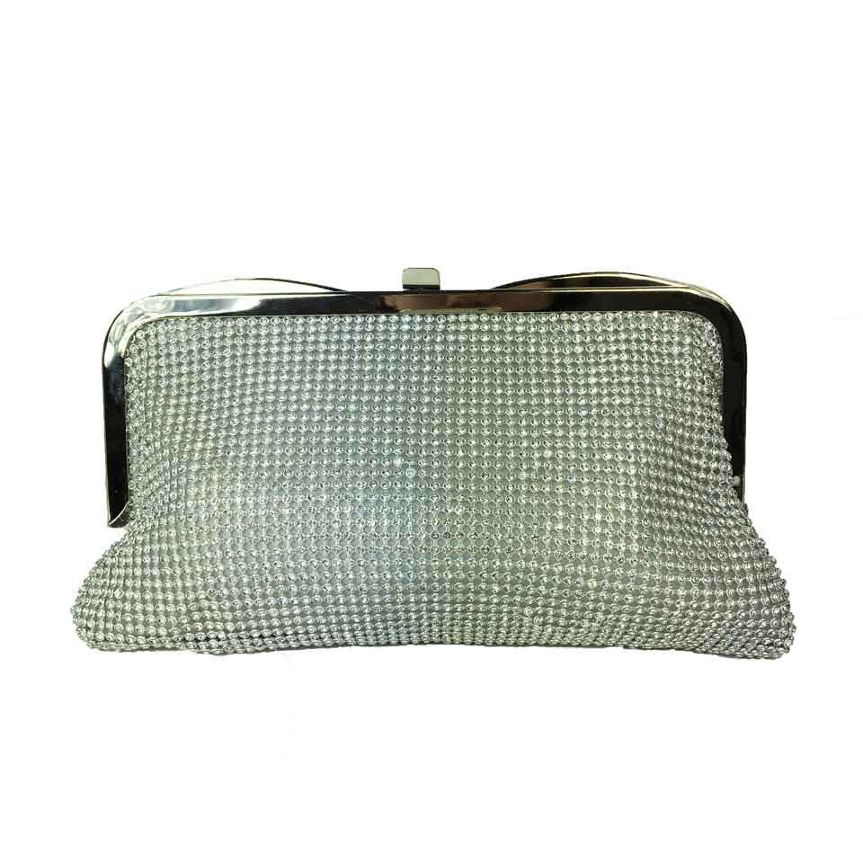 Bejewelled Evening Bag - Silver- Accessories 4 You