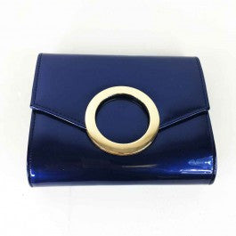 Faux Patent Leather Circle Evening Bag - Blue - Accessories 4 You