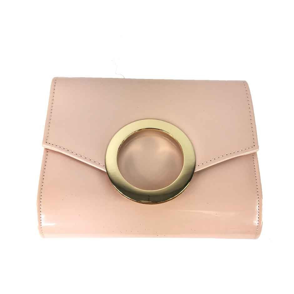 Faux Patent Leather Circle Evening Bag - Pink - Accessories 4 You