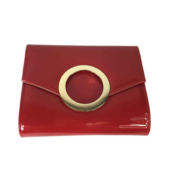 Faux Patent Leather Circle Evening Bag - Red - Accessories 4 You