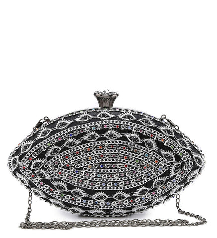 Jewelled Multi Coloured Diamante Clasp Evening Bag - Black  - Accessories 4 You
