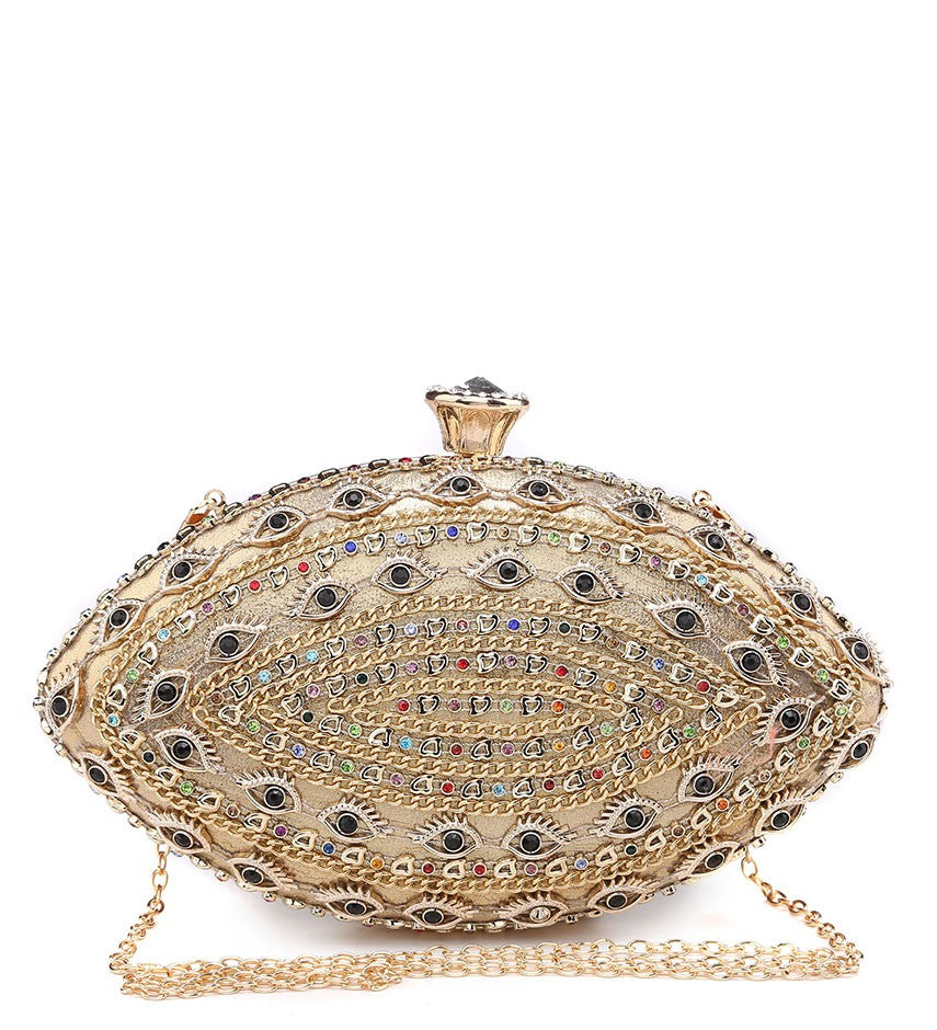 Jewelled Multi-Coloured Diamante Clasp Evening Bag - Gold - Accessories 4 You