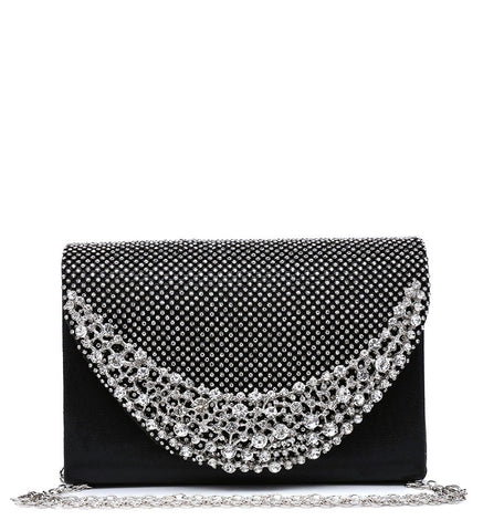 Diamante and Jewelled Clutch Evening Bag - Black - Accessories 4 You