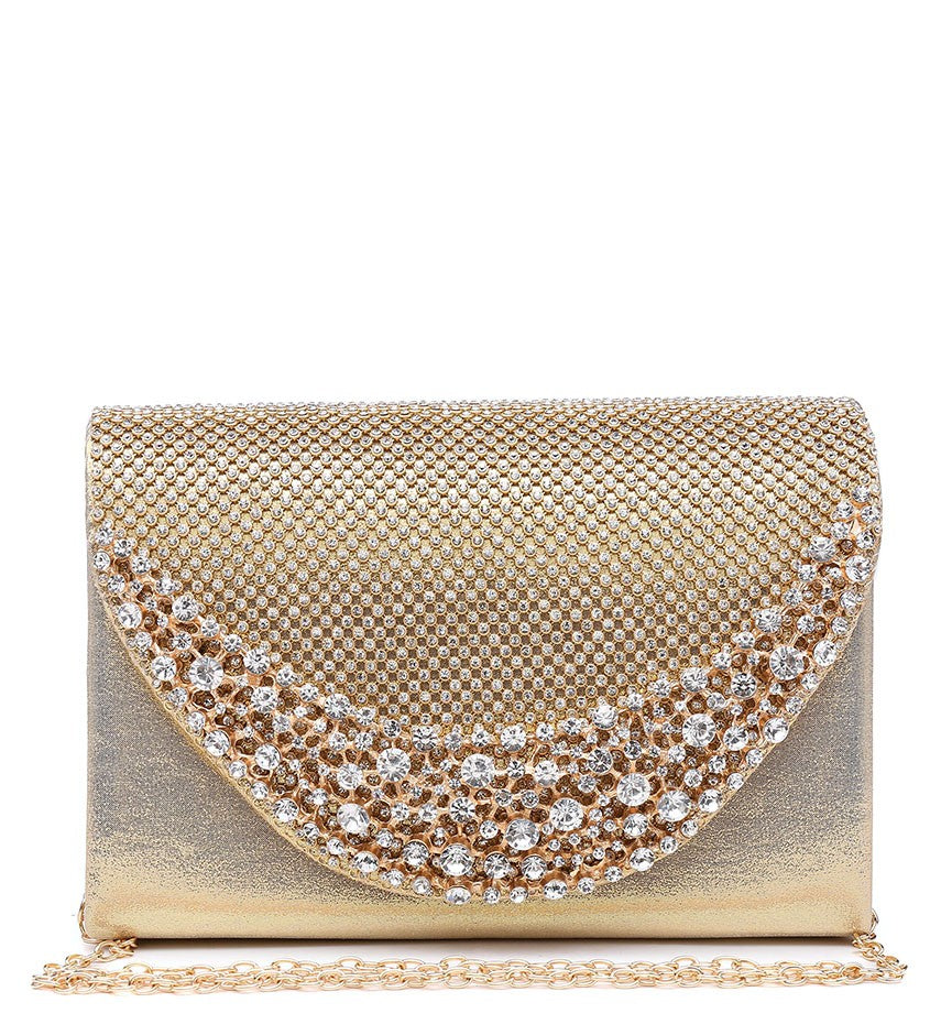 Diamante and Jewelled Clutch Evening Bag - Gold - Accessories 4 You