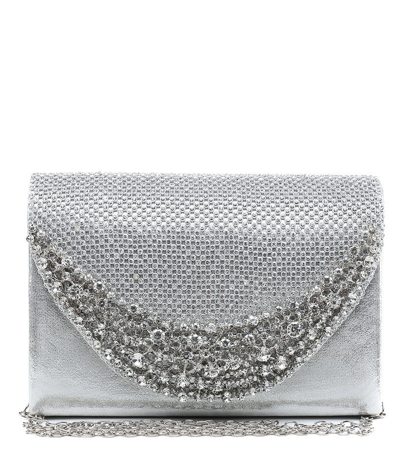 Diamante and Jewelled Clutch Evening Bag - Silver - Accessories 4 You