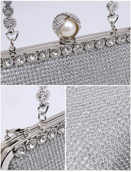 Diamante Pearl Clasp Clutch Evening Bag - Gold