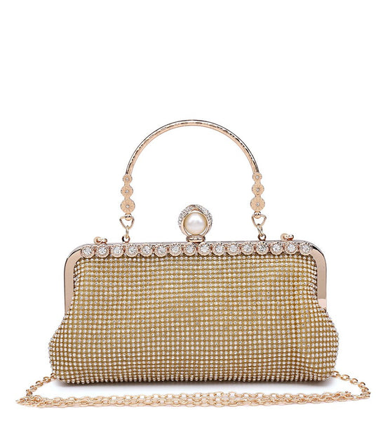 Diamante Pearl Clasp Clutch Evening Bag - Gold - Accessories 4 You