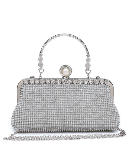 Diamante Pearl Clasp Clutch Evening Bag - Silver - Accessories 4 You