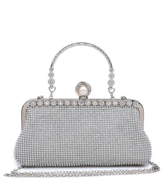 Diamante Pearl Clasp Clutch Evening Bag - Black - Accessories 4 You