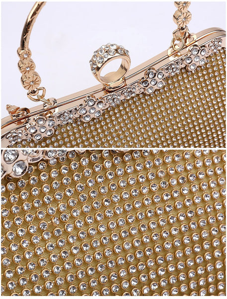 Ring Clasp Clutch Diamante Evening Bag - Silver