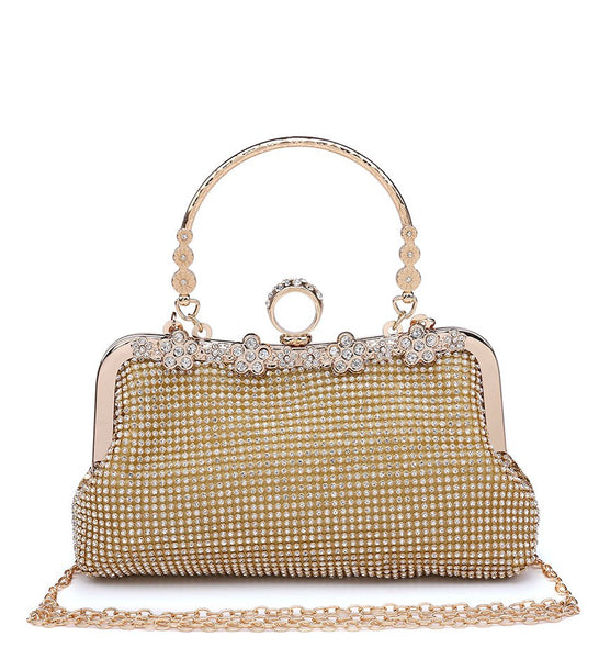 Ring Clasp Clutch Diamante Evening Bag - Gold - Accessories 4 You