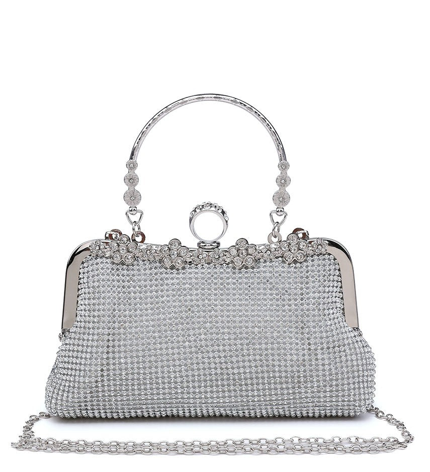 Ring Clasp Clutch Diamante Evening Bag - Silver - Accessories 4 You