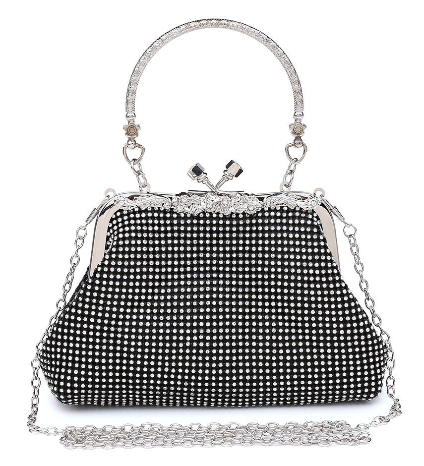 Diamante Clutch Jewelled Handle Evening Bag - Black - Accessories 4 You