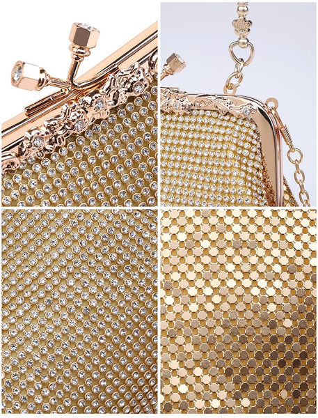 Diamante Clutch Jewelled Handle Evening Bag - Gold