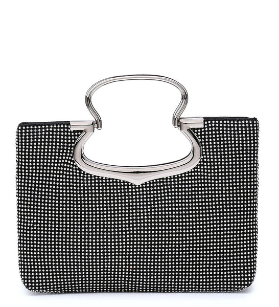 Jewelled Diamante Stud Fastening Twin Handle Evening Bag - Black - Accessories 4 You