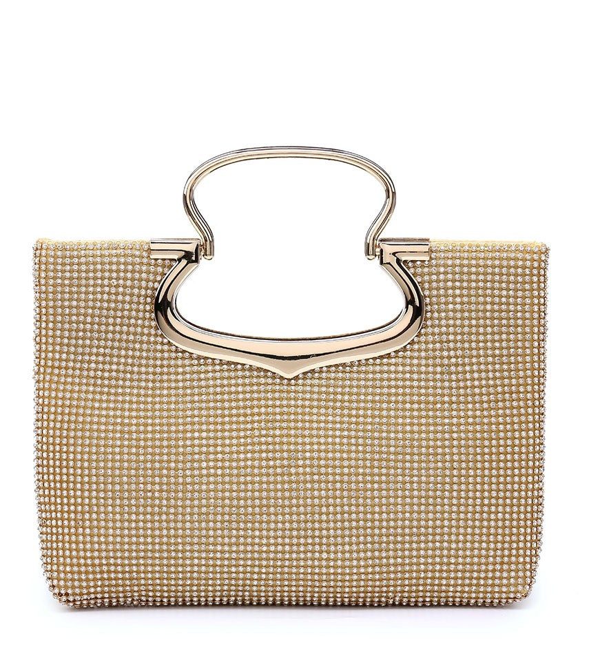 Jewelled Diamante Stud Fastening Twin Handle Evening Bag - Gold - Accessories 4 You