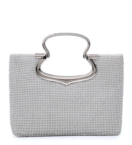 Jewelled Diamante Stud Fastening Twin Handle Evening Bag - Silver - Accessories 4 You