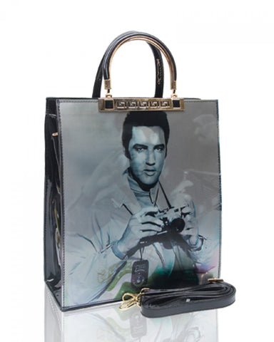 Faux Patent Elvis 3D Effect Top-Handle Handbag - Black - Accessories 4 You