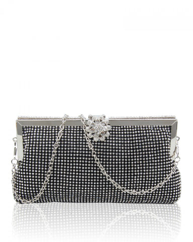 Diamante Clutch Evening Handbag - Black - Accessories 4 You