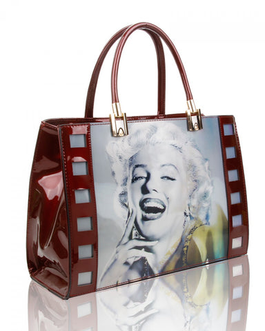 Marilyn Monroe 3D Three Photos Hologram Handbag or Shoulder Bag - Burgundy - Accessories 4 You