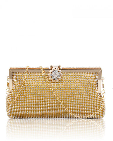 Diamante Clutch Evening Handbag - Gold - Accessories 4 You