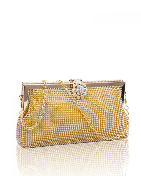Diamante Clutch Evening Handbag - Silver