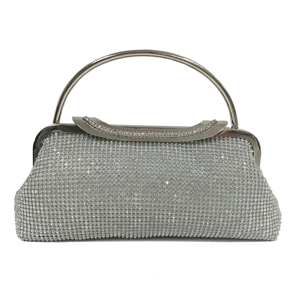 Two Handled Evening Bag - Silver - Accessories 4 You