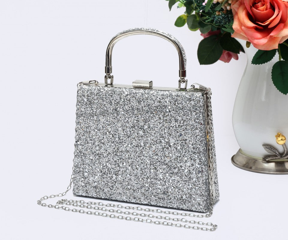 Diamante Loop Handle Clutch Evening Handbag - Silver - Accessories 4 You