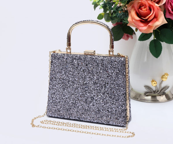 Diamante Loop Handle Clutch Evening Handbag - Pewter - Accessories 4 You