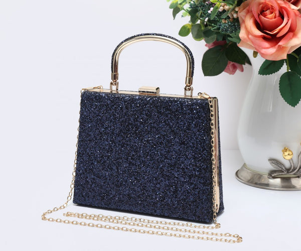 Diamante Loop Handle Clutch Evening Handbag - Royal Blue - Accessories 4 You