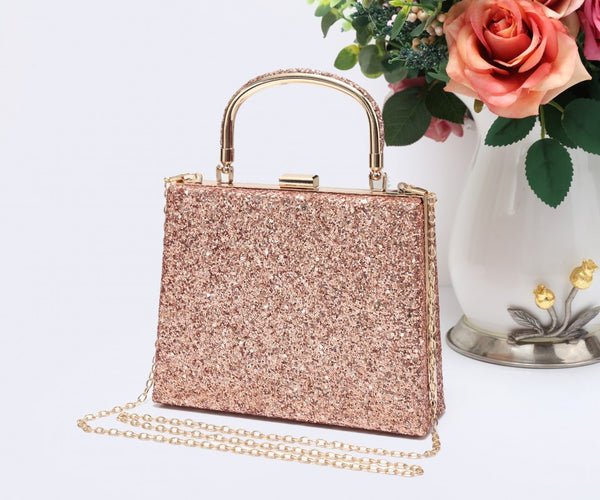 Diamante Loop Handle Clutch Evening Handbag - Rosegold - Accessories 4 You