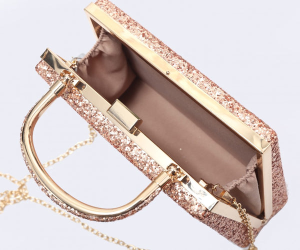 Diamante Loop Handle Clutch Evening Handbag - Rose Gold