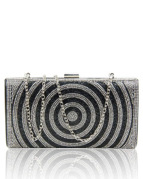 Diamante Circle Clutch Evening Handbag - Black - Accessories 4 You