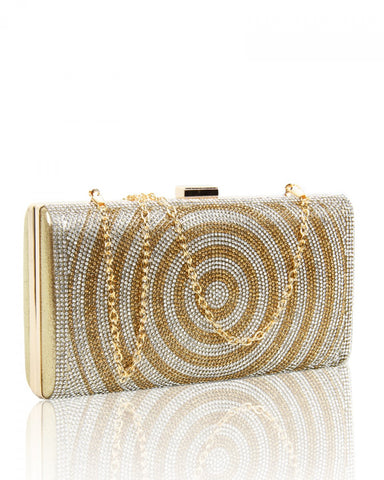 Diamante Circle Clutch Evening Handbag - Gold - Accessories 4 You