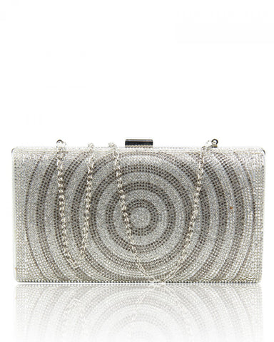 Diamante Circle Clutch Evening Handbag - Silver - Accessories 4 You