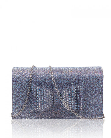 Diamante Clutch Bow Evening Handbag - Pewter - Accessories 4 You