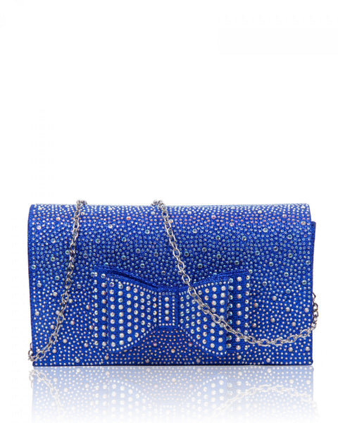 Diamante Clutch Bow Evening Handbag - Royal Blue - Accessories 4 You