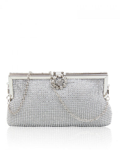Diamante Clutch Evening Handbag - Silver - Accessories 4 You