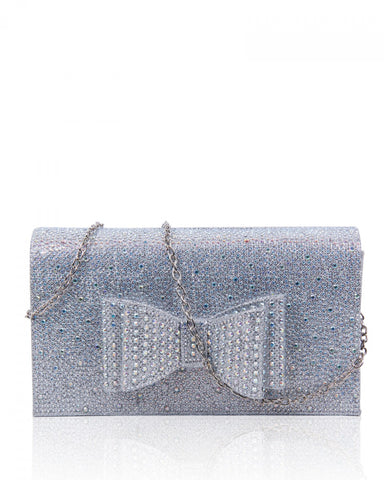 Diamante Clutch Bow Evening Handbag - Silver - Accessories 4 You