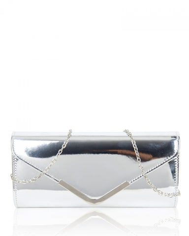 Faux Patent Leather Clutch Evening Handbag - Silver - Accessories 4 You