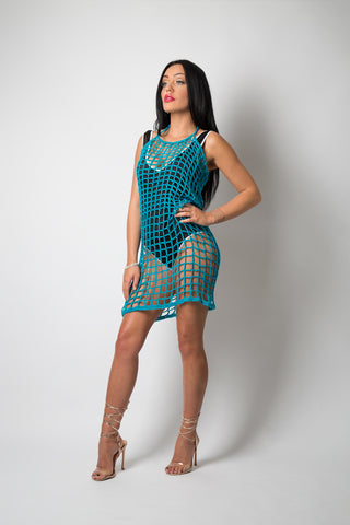 1st Woman Hand Crochet Swim Dress - Eve in Aqua Blue