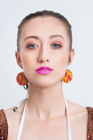 NEW IN - Sara Print Disk Earrings in Collaboration with Moss Piglet Designs