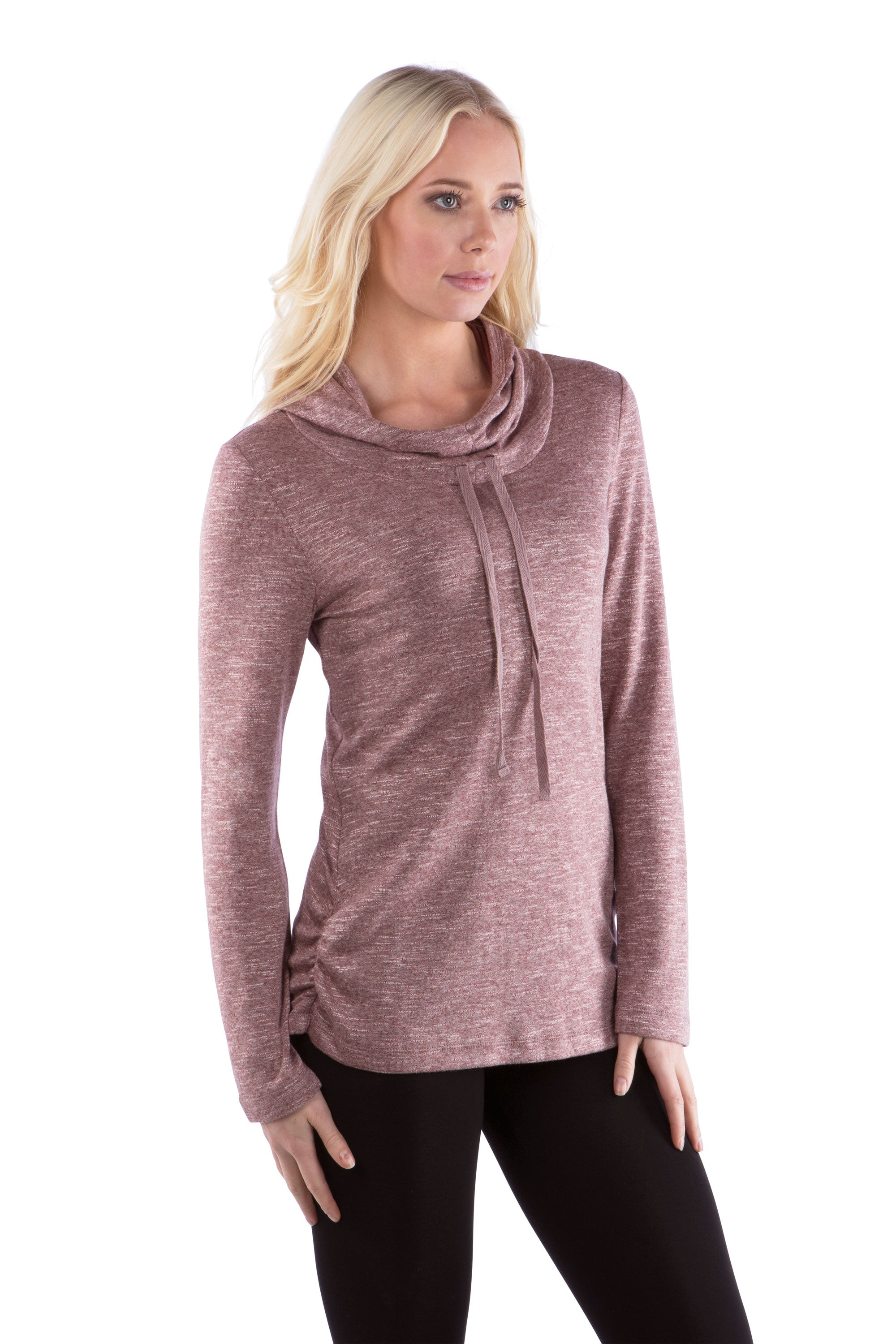 Cowl Neck Athleisure Hoodie with Drawstrings