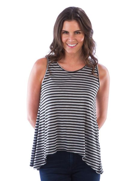 Striped Cross Over Back Tank Top - Black/Grey Top - Summer Top
