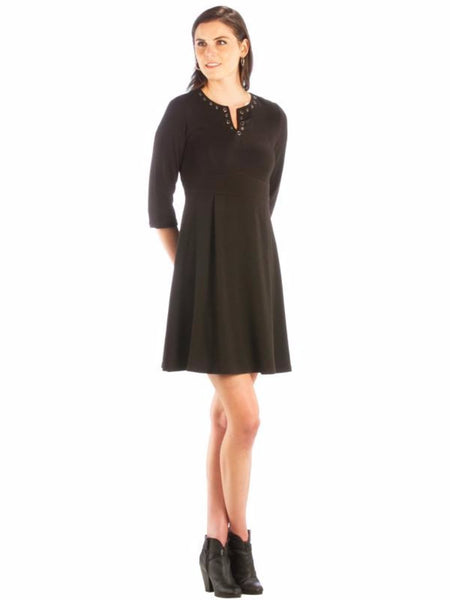 A Line Color Block Dress with Grommet Neckline - Little Black Dress