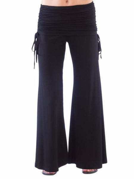 Palazzo Pants with Fold Over Drawstring Waist in Black