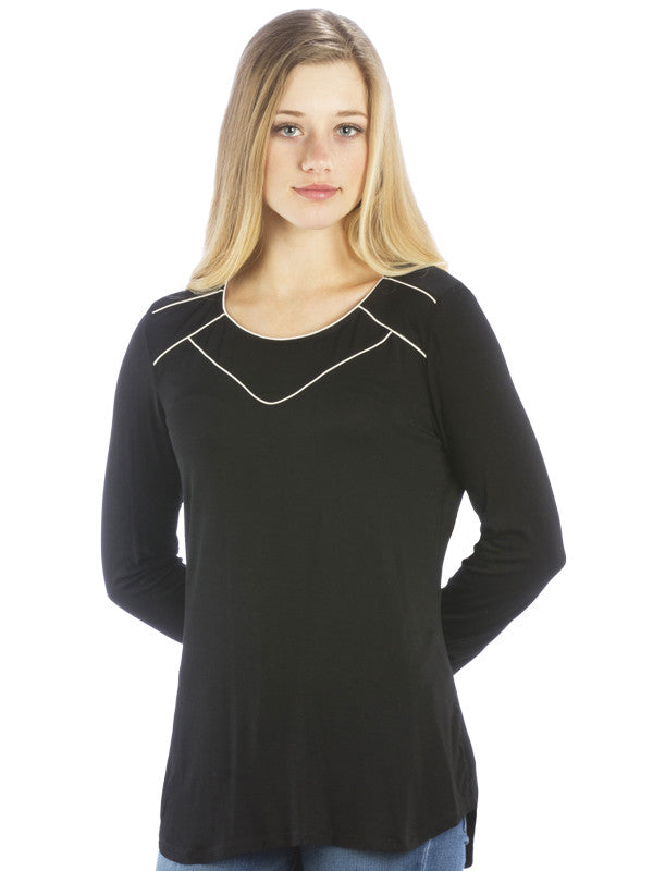Athleisure Chiffon Trim Top with Scoop Neck, Black