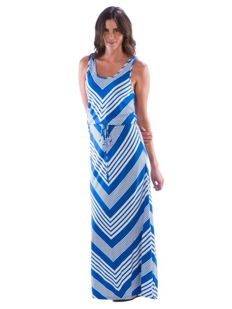V Striped Maxi Dress