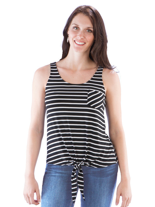 Tie Waist Striped Tank