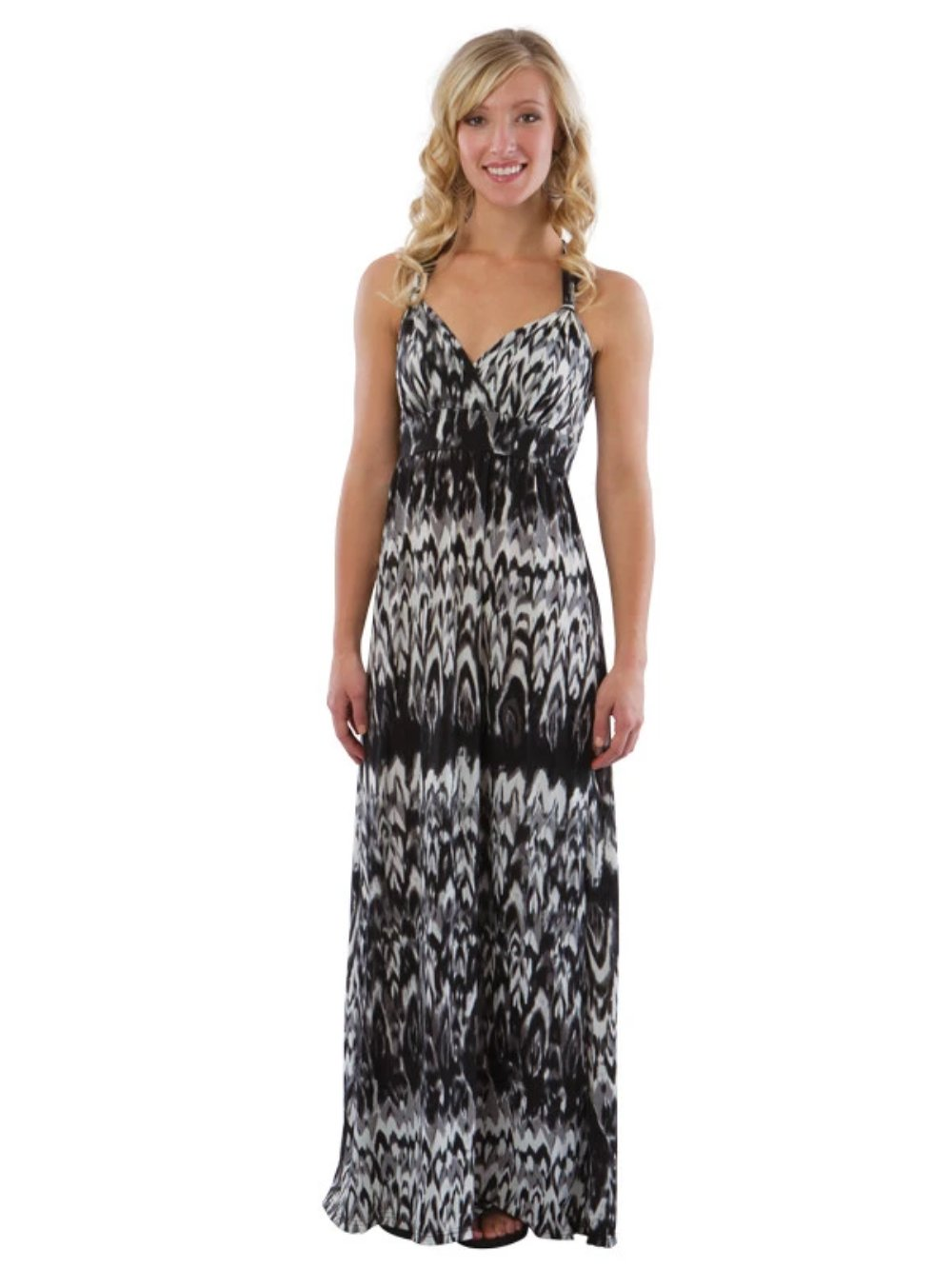 Maxi Beach Dress with Adjustable Faux Halter, Black/White